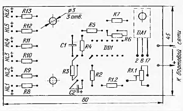 монтажная плата светодиодного вольтметра