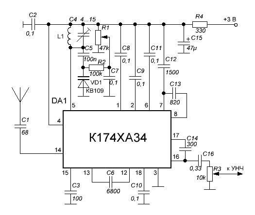 схема радиоприемника УКВ диапазона
