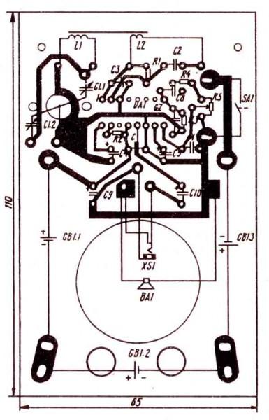 монтажная плата радиоприемника на микросхеме К174ХА10