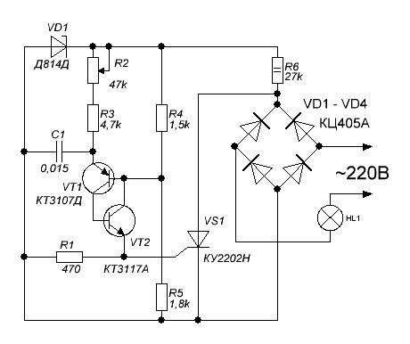 схема регулятора яркости в торшере