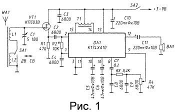 Схема приемника. Подборка простых схем приемников УКВ Схема простого приемника прямого усиления на транзисторах